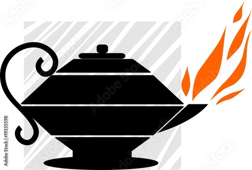 Illustration of aladins's magic lamp with red flame
