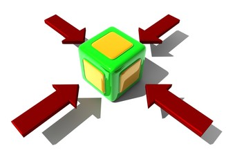 würfel rot Pfeil cube red arrow