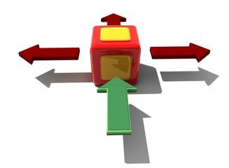 würfel grün rot Pfeil cube green red arrow