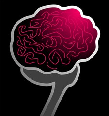 Illustration of human brain in black background