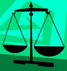Illustration of a simple balance in green background