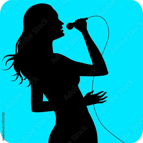 Illustration of silhouette of a lady singing
