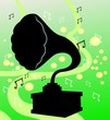 silhouette of a gramophone in green background