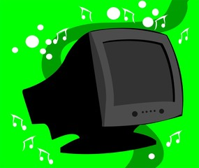 Illustration of silhouette of a computer monitor