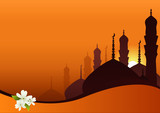 Fototapety Skyline with minarets, domes of mosques and Jasmine flowers.