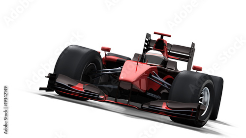 race car on white - black & red