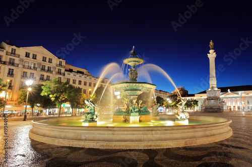 Rossio square Lisbon, Portugal at night