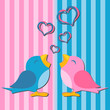 Birds in love over pink and blue background