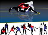 Wrestling Silhouette Vectors poster