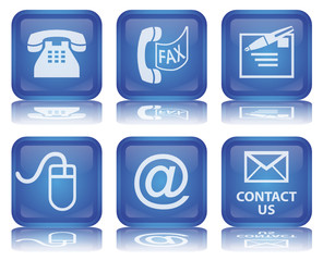 CONTACT Buttons (Details Service Square Blue Vector Reflection)