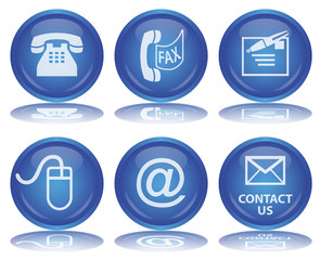 CONTACT Buttons (Details Service Round Blue Vector Reflection)