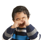 Portrait of a Sleepy Toddler Rubbing His Eyes poster