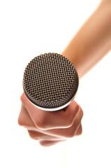 Holding microphone isolated on white