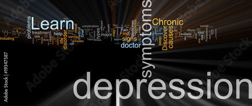 Depression word cloud glowing