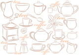 Crockery for tea and coffee poster