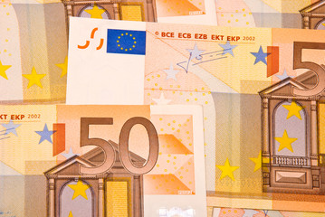 Fifty Euro banknotes background