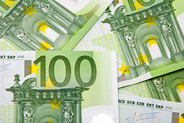 Hundred Euro banknotes background