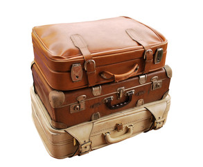 Set of Old Suitcases Isolated on White Background