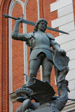 Statue of Saint George on the Central Square of Riga, Latvia poster