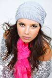 beautiful girl in wither clother and bright scarf poster