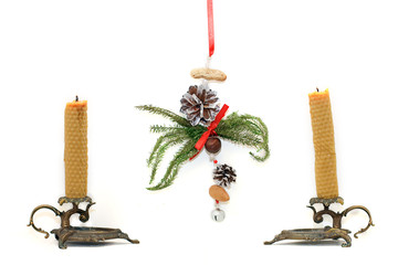 Candles and handmade christmas decoration