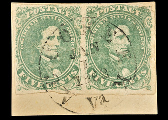 First Confederate stamps, Jefferson Davis, 1862. Clipping path.