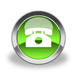 phone icon & button , isolated , glossy and green