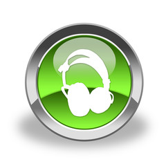 headphones icon & button , green and glossy