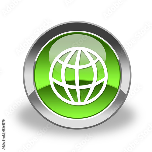 world, earth icon & button; glaossy and green