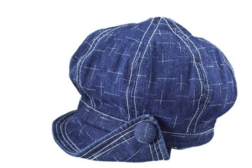 Blue denim fashion hat on white