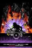 Fototapety Discoteque Dj Flyer with Real Flames