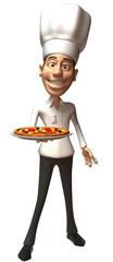 Chef avec une pizza