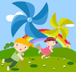 roleta: children and pinwheel