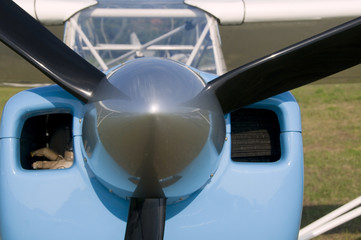 Parked prop airplane detail
