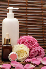 Spa products with roses