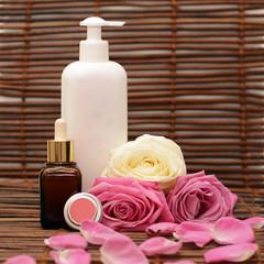 Cosmetics, roses and roses petals