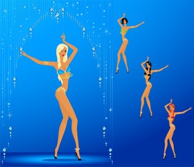young women dancing a striptease