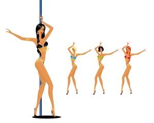 young women dancing a striptease