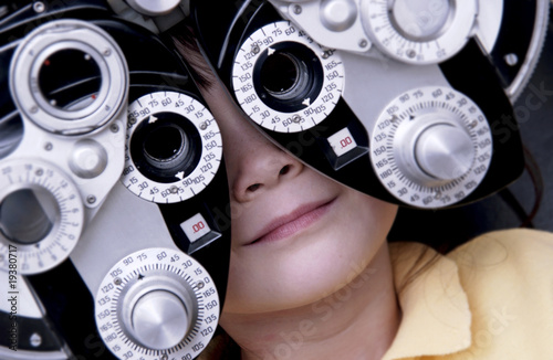 Girl getting vision tested