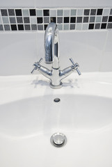 modern water mixer tap and hand wash