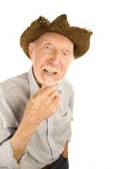 Senior man in straw hat