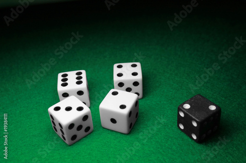 Seperated Dice over Green