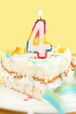 slice of fourth birthday cake poster
