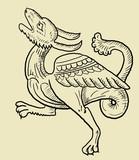 Old engraving dragon poster