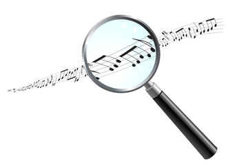 Musical Notes Under Magnifying Glass