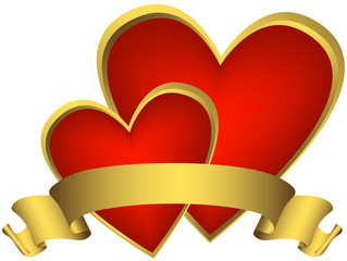 Two red award-heart with golden ribbon (vector)
