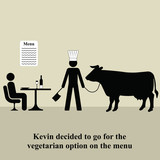 Kevin decided to opt for the vegetarian menu poster