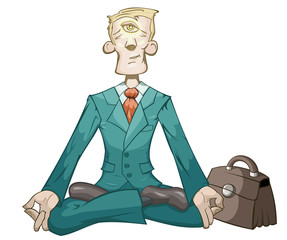 Businessman is meditating and relaxing in lotus pose