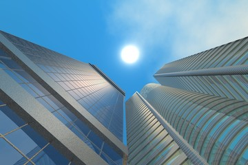 Sky-scrapers buildings directed to sun upwards