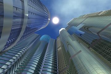 Three Sky-scrapers buildings directed to sun upwards